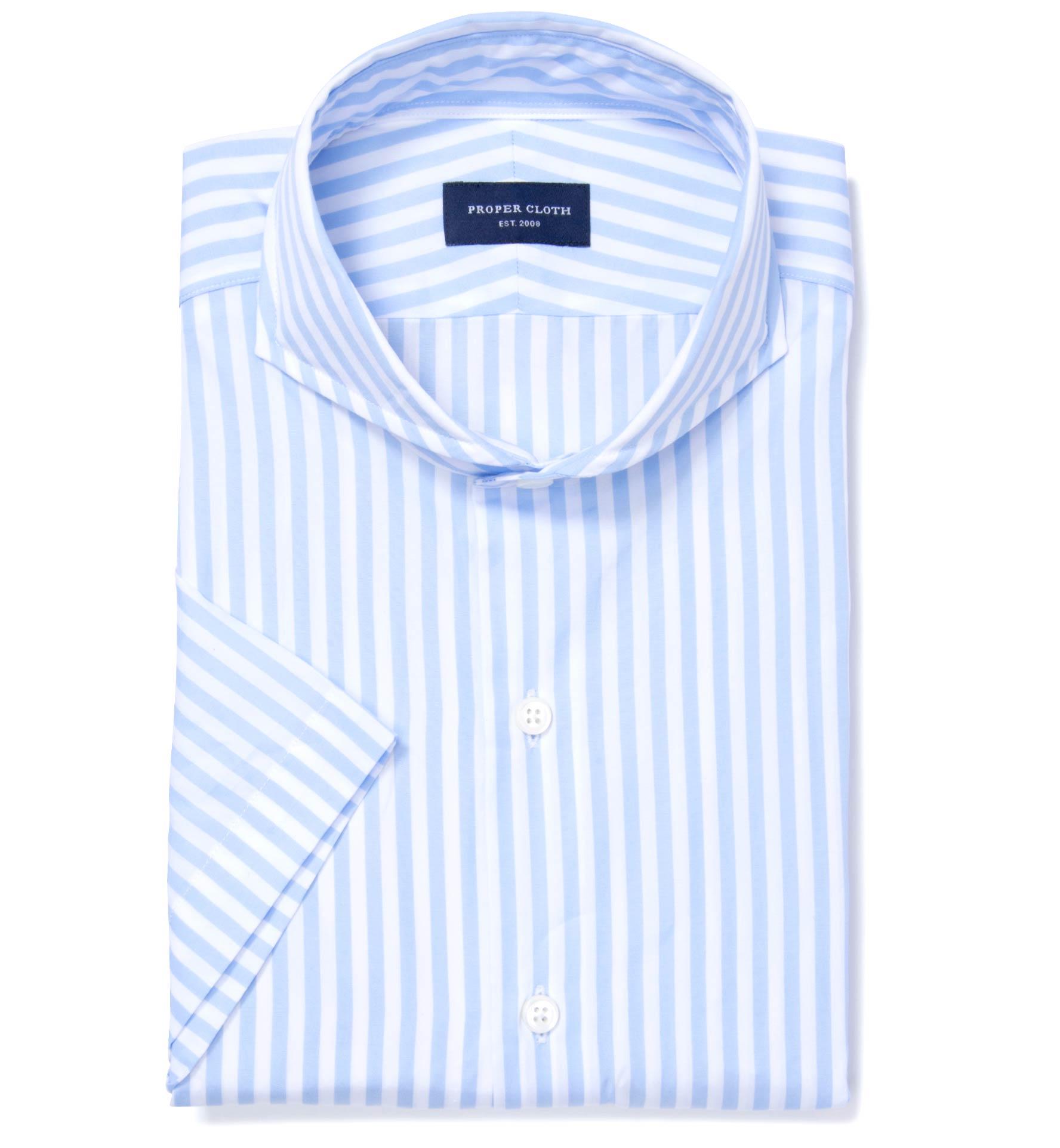 Canclini Light Blue Awning Stripe Short Sleeve Shirt