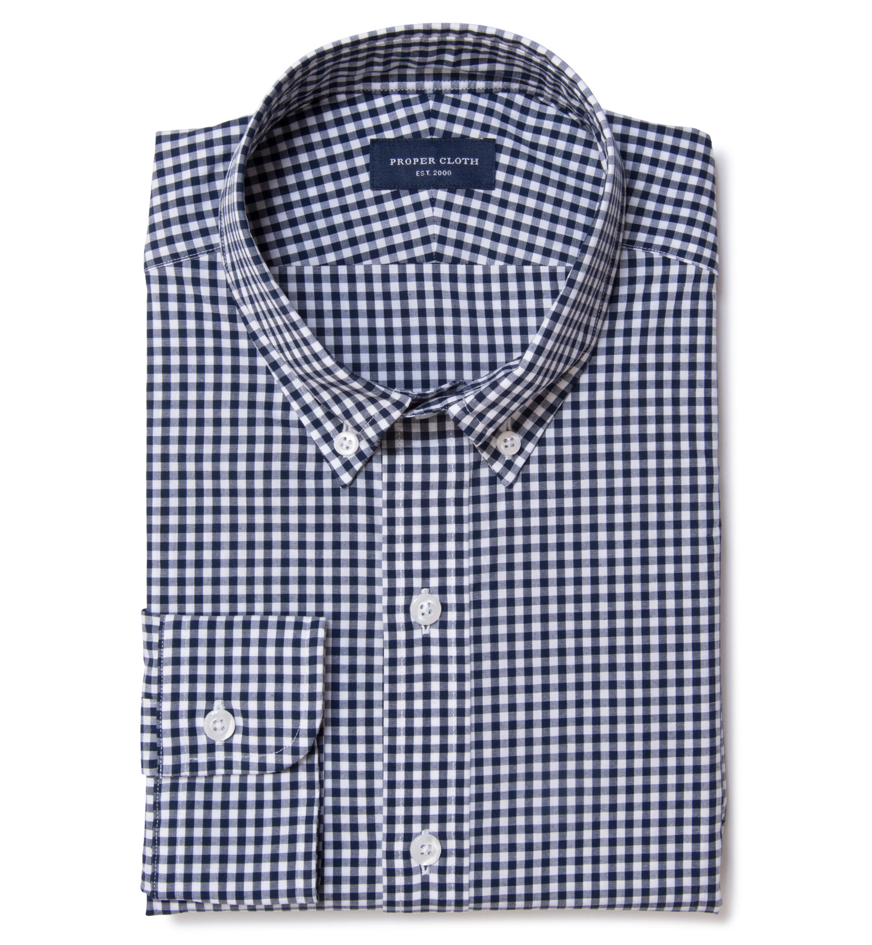 Medium Navy Gingham Custom Made Shirt By Proper Cloth