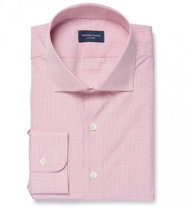 Thomas mason red small grid fitted dress shirt by proper cloth for Thomas mason dress shirts