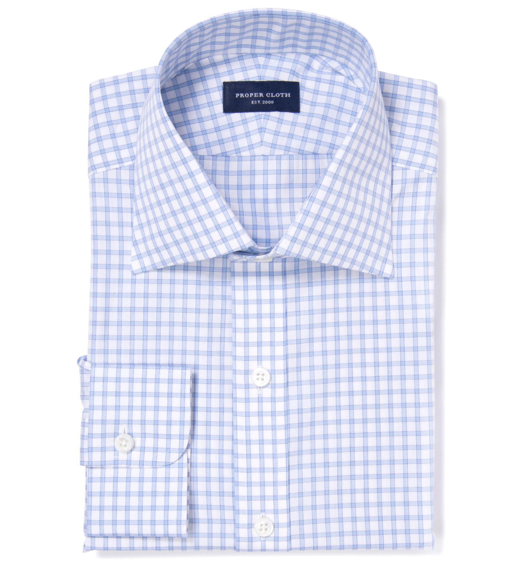 Thomas Mason Light Blue Border Grid Fitted Dress Shirt By