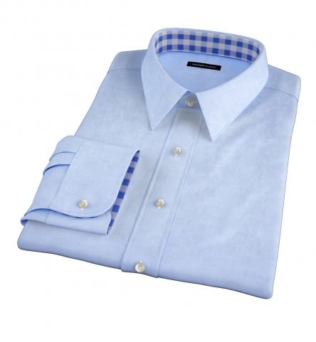 Bowery blue wrinkle resistant pinpoint custom made shirt for Wrinkle resistant dress shirts