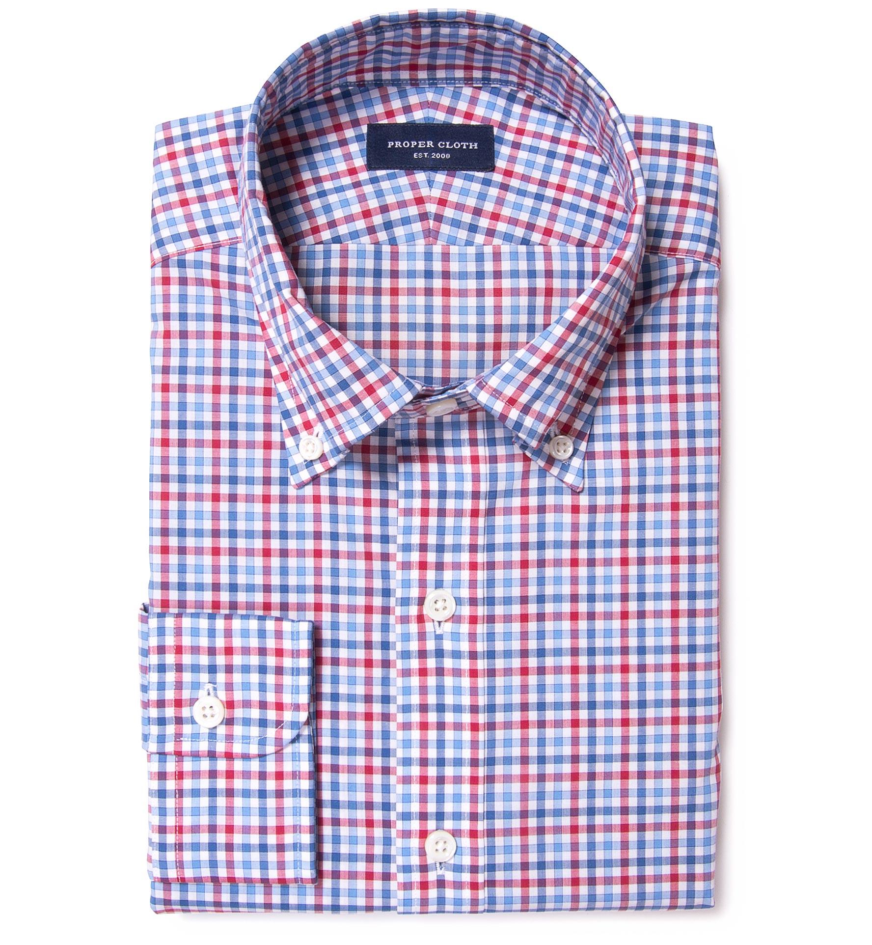 Thomas Mason Red Blue Multi Check Custom Made Shirt By