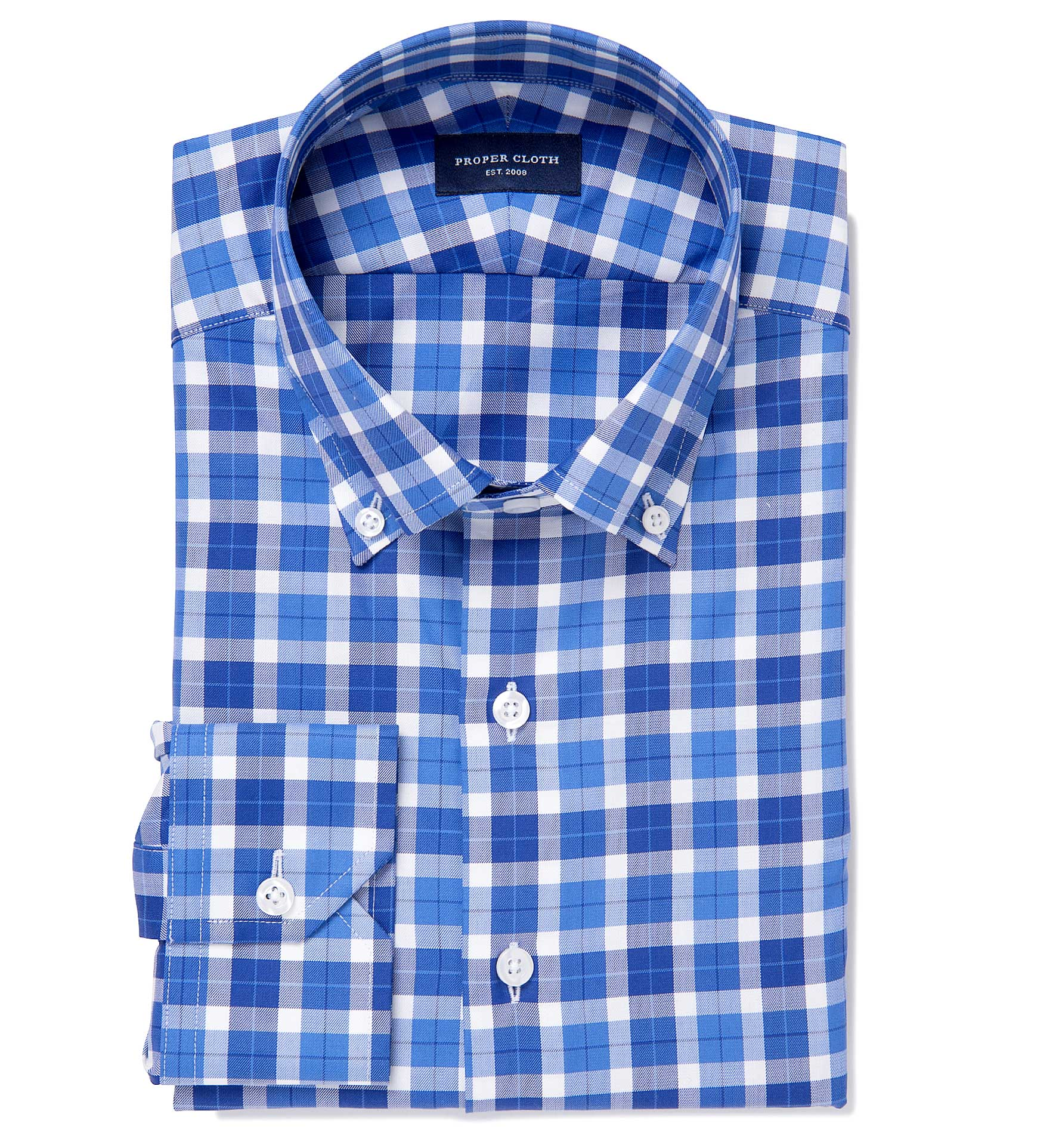 Greenwich blue and navy large plaid fitted dress shirt by for Navy blue checkered dress shirt