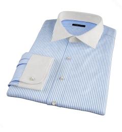 140s Wrinkle-Resistant Blue Bengal Stripe Men's Dress Shirt