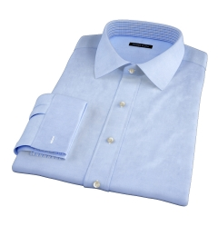 Light Blue Cavalry Twill Herringbone Fitted Dress Shirt