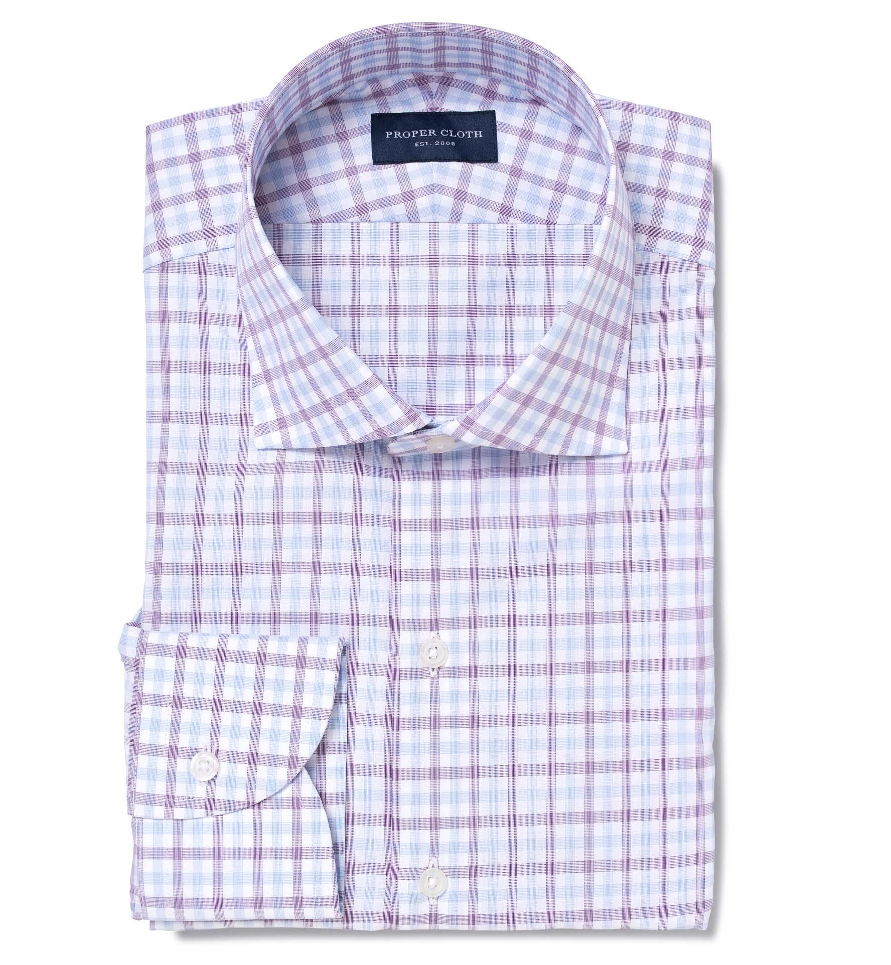 Thomas mason violet and blue end on end check tailor made for Thomas mason dress shirts