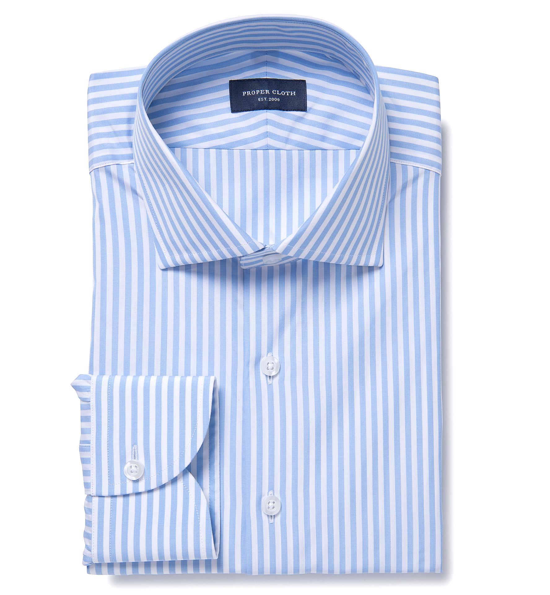 Thomas Mason Light Blue End On End Stripe Dress Shirt By