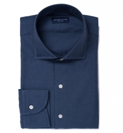 Portuguese Slate Blue Melange Oxford Fitted Dress Shirt