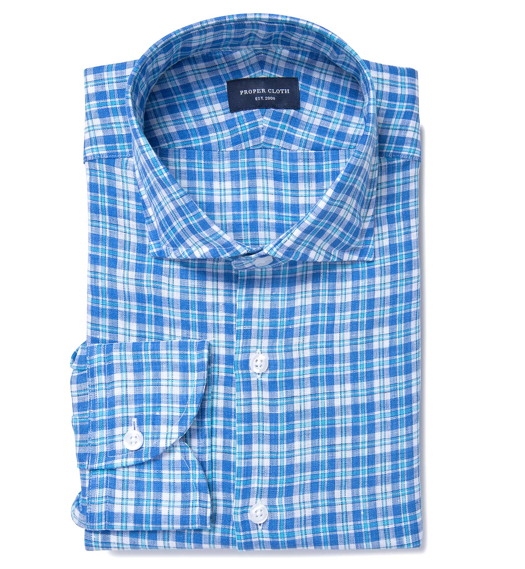 Canclini Aqua And Blue Plaid Linen Fitted Dress Shirt By