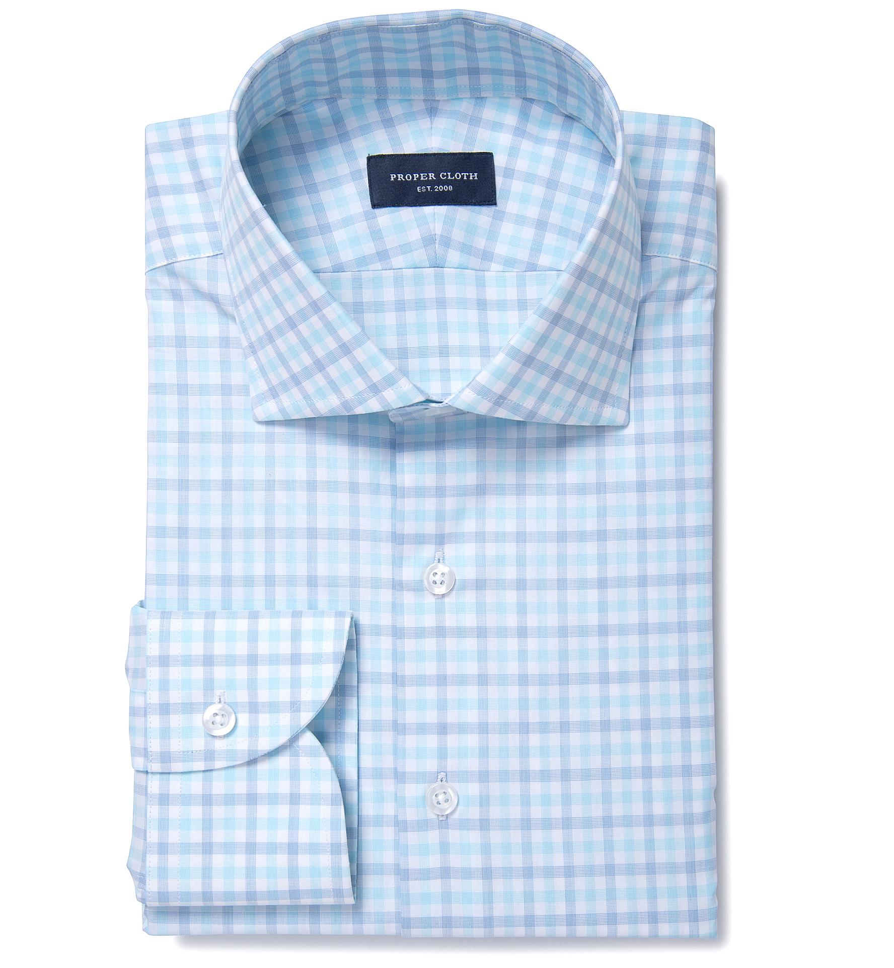 Thomas Mason Aqua Multi Check Dress Shirt By Proper Cloth