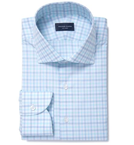 Thomas mason aqua multi check dress shirt by proper cloth for Thomas mason dress shirts
