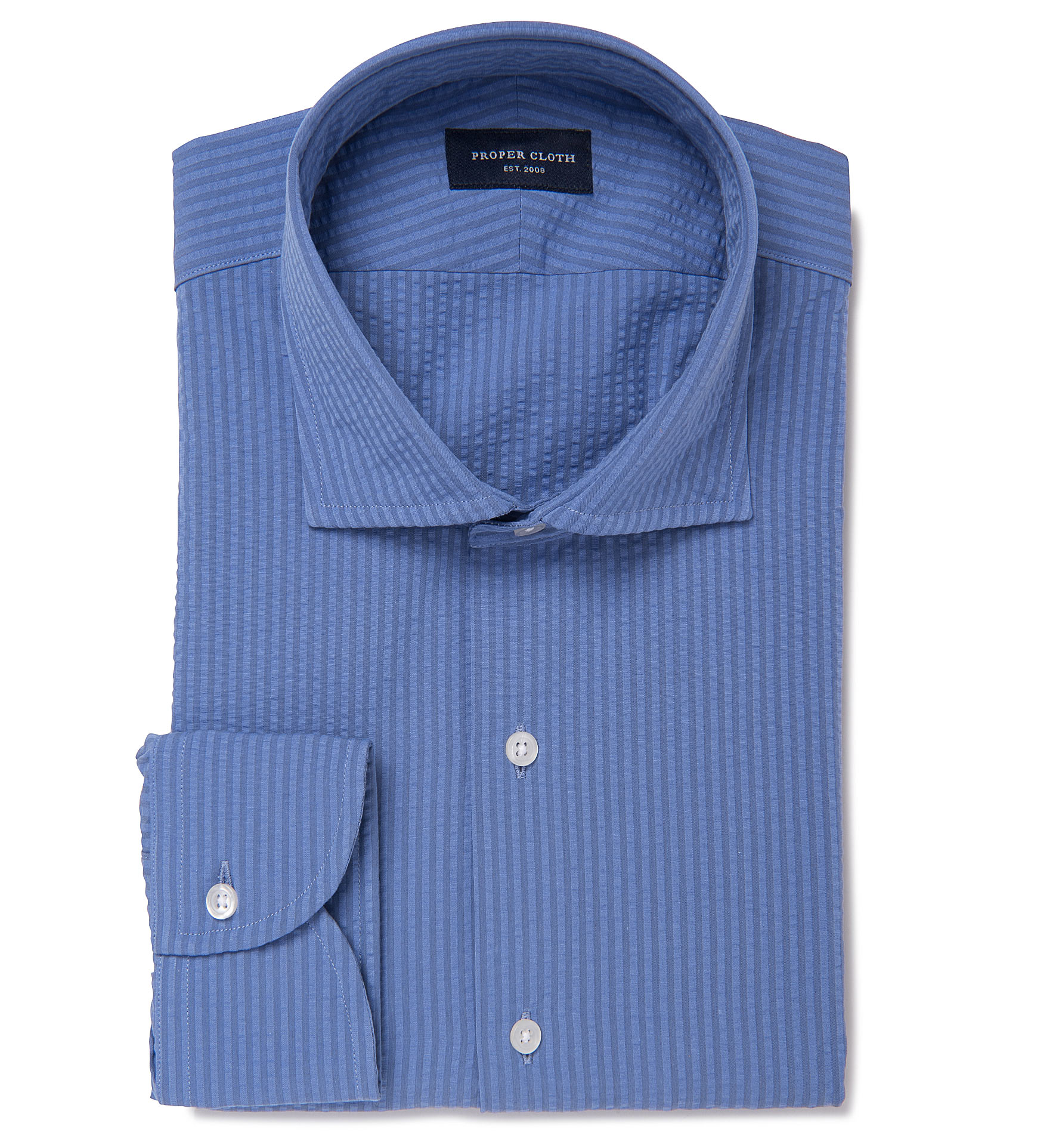 Portuguese blue seersucker dress shirt by proper cloth for Proper cloth custom shirt price