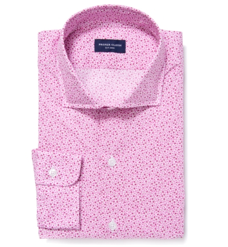 Canclini Pink Floral Print Men's Dress Shirt by Proper Cloth