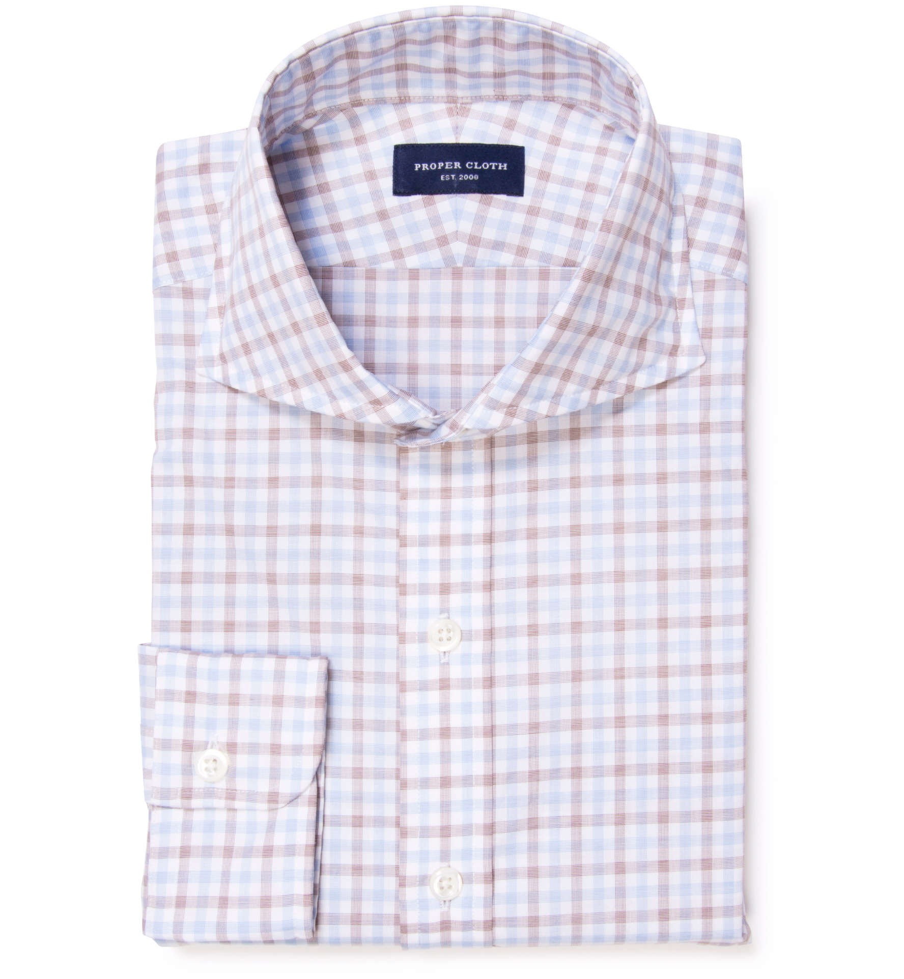Thomas mason brown multi check dress shirt by proper cloth for Thomas mason dress shirts