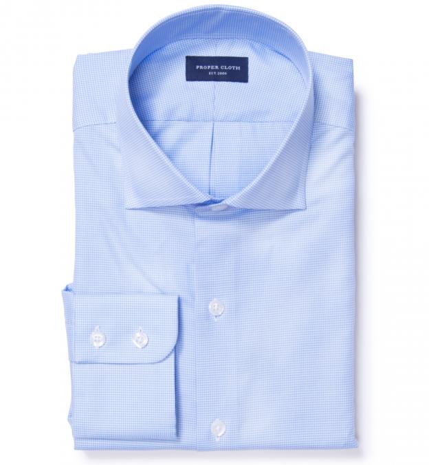Morris wrinkle resistant light blue houndstooth men 39 s for Wrinkle resistant dress shirts