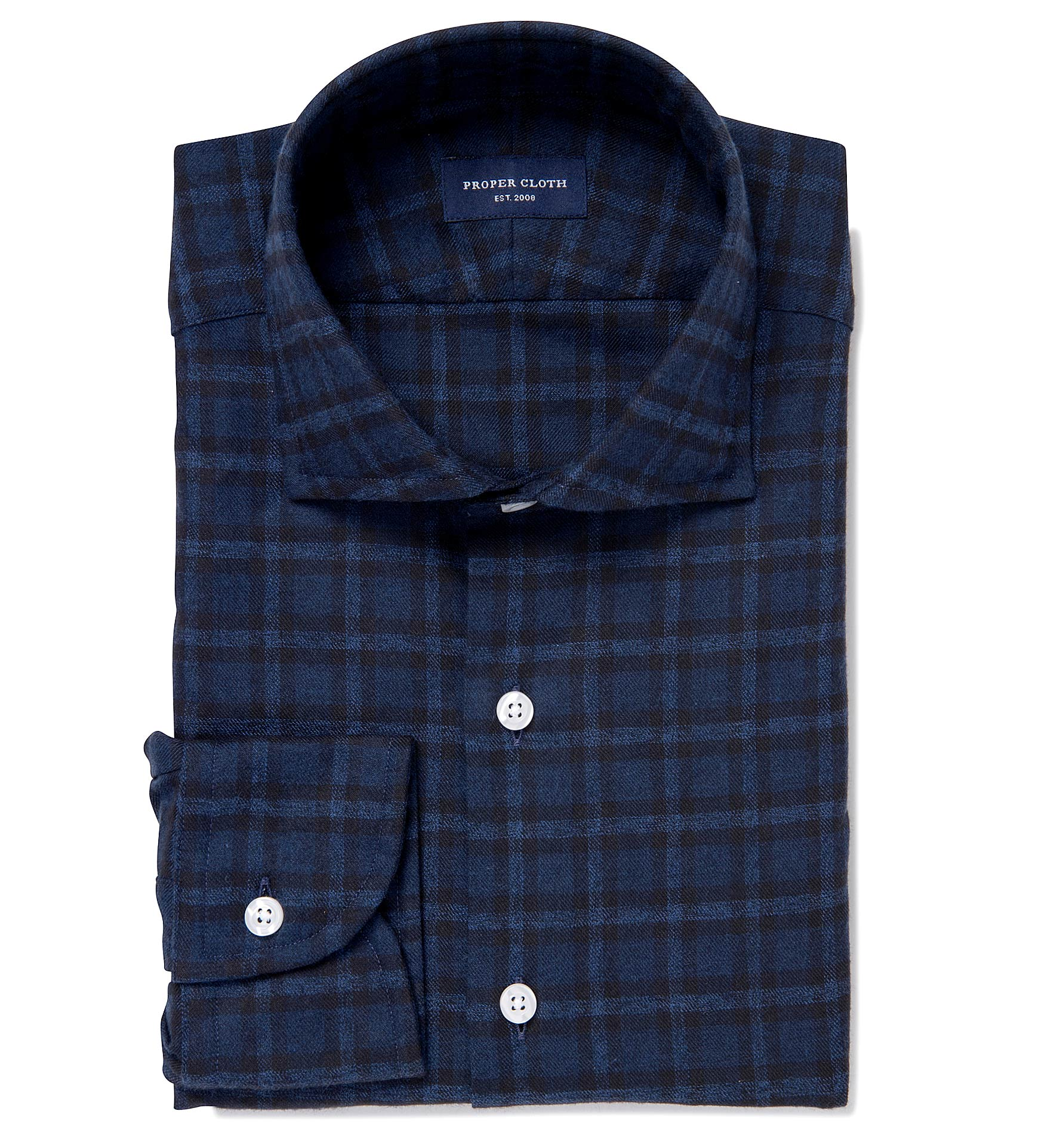 Albiate Navy Melange Plaid Flannel Fitted Dress Shirt By